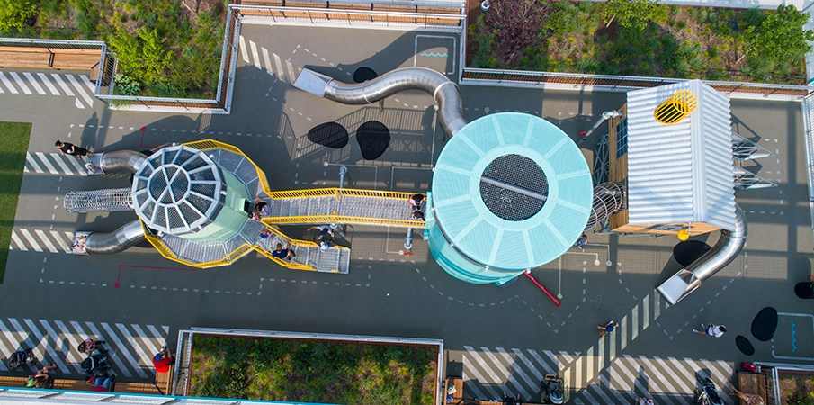 Birds eye view of the playground structures at Domino Park.