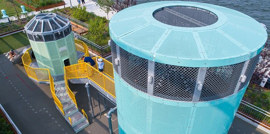 Top down view of the roof on the Sweetwater Silo and Centrifuge playground structures at Domino Park.