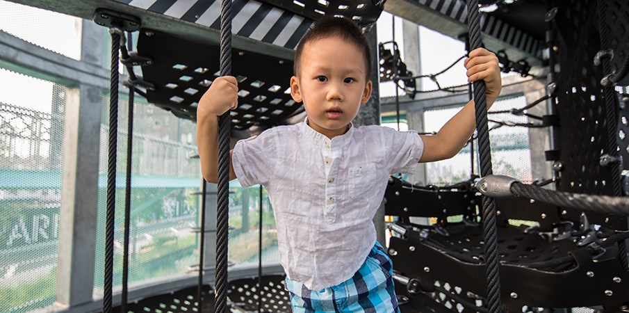 Young boy holds onto cargo net ropes while looking at camera inside Sweetwater Silo playground structure at Domino Park.
