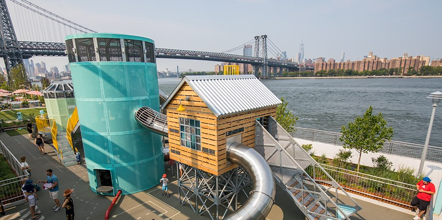 Elevated view of Domino Parks Sugar Cane Cabin and Sweetwater Silo playground structure.