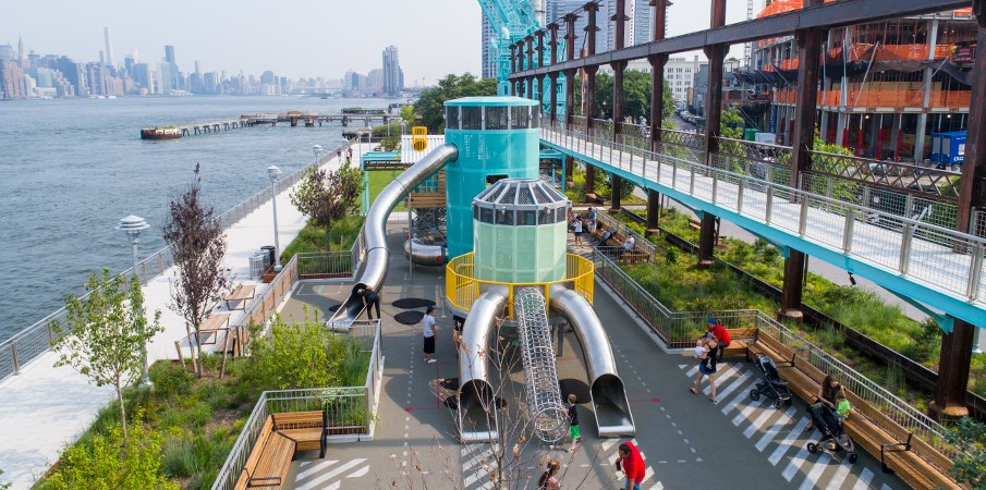 Elevated view of Domino Park at the end where the Centrifuge playground structure is located.