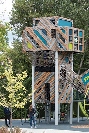Vertical view of the two story playground tower at French Regional Park.